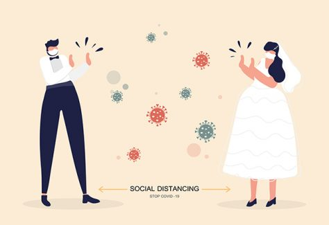 An illustration of a bride and groom standing apart, with coronavirus cells in the space between them.