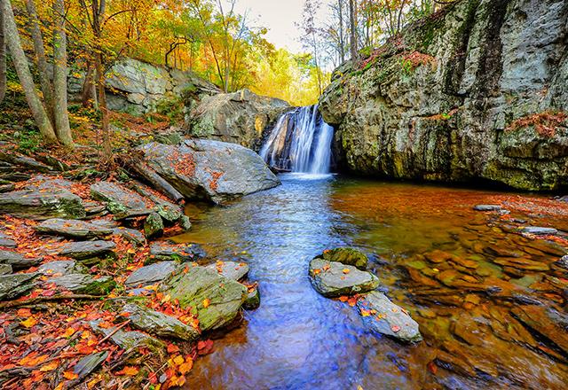 Kilgore waterfall on an Autumn day in Maryland.