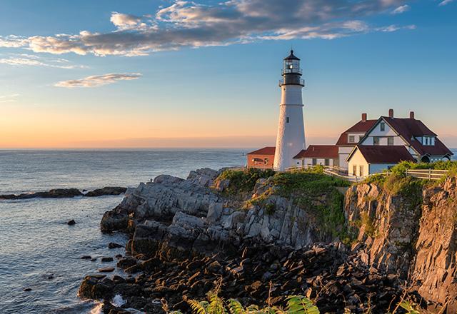 Sunrise at Portland Lighthouse, New England, Maine