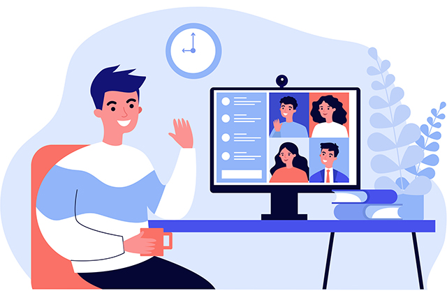 An illustration of a man using a desktop computer to chat with friends over video.