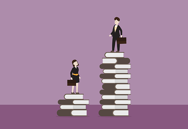 Businessman standing on a stack of the book higher than a businesswoman on a shorter stack.