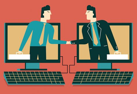 Illustration of two businessmen emerging from computer screens, shaking hands.