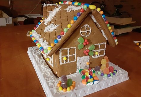 A gingerbread house made by Veronica Busa.