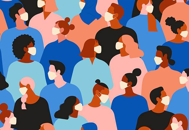An illustration of a crowd of people wearing face masks.