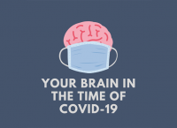 An illustration of a brain wearing a medical mask above the text,