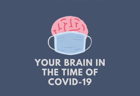 "An illustration of a brain wearing a medical mask above the text, ""Your brain in the time of COVID-19."""