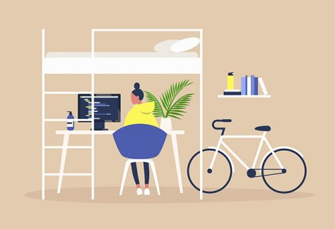 An illustration of a young woman working remotely in her apartment.