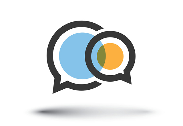 An illustration of two overlapping speech bubbles.