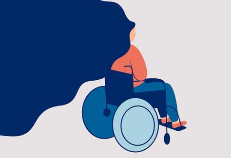 Illustration of a women in a wheelchair with flowing hair.